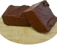 Dark Chocolate Cut Fudge with text